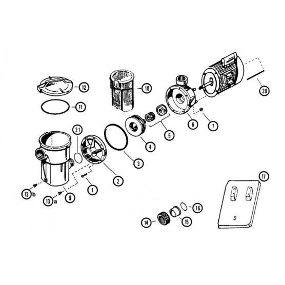N°11 et 12 - Couvercle et joint pompe Power Flo d'Hayward